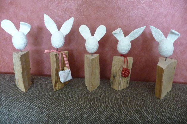 Osterhasen - Osterhase aus Holz und Gips - ein Designerstück von Dunja_Hammann bei DaWanda