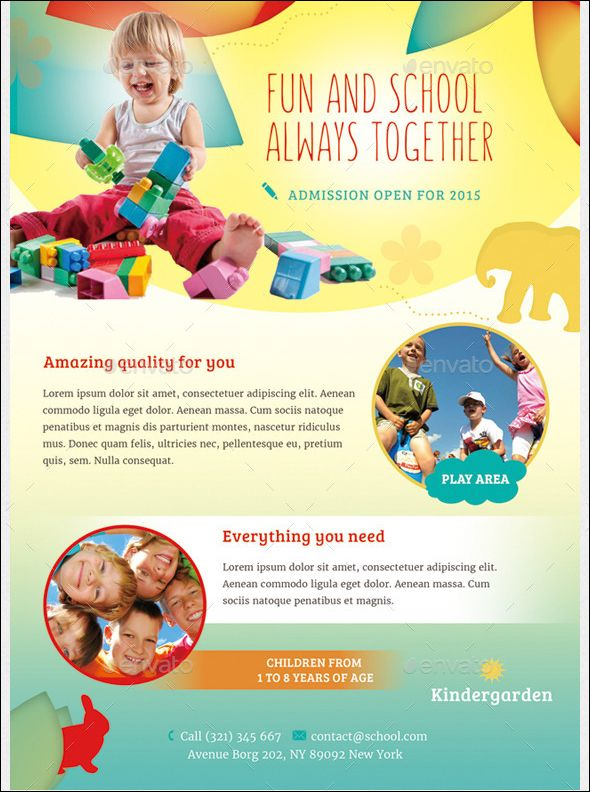Fun Children Daycare Flyer Template Magazine Ad This Can Be Used In Any Business Like Carekidsbabyfamily Etc