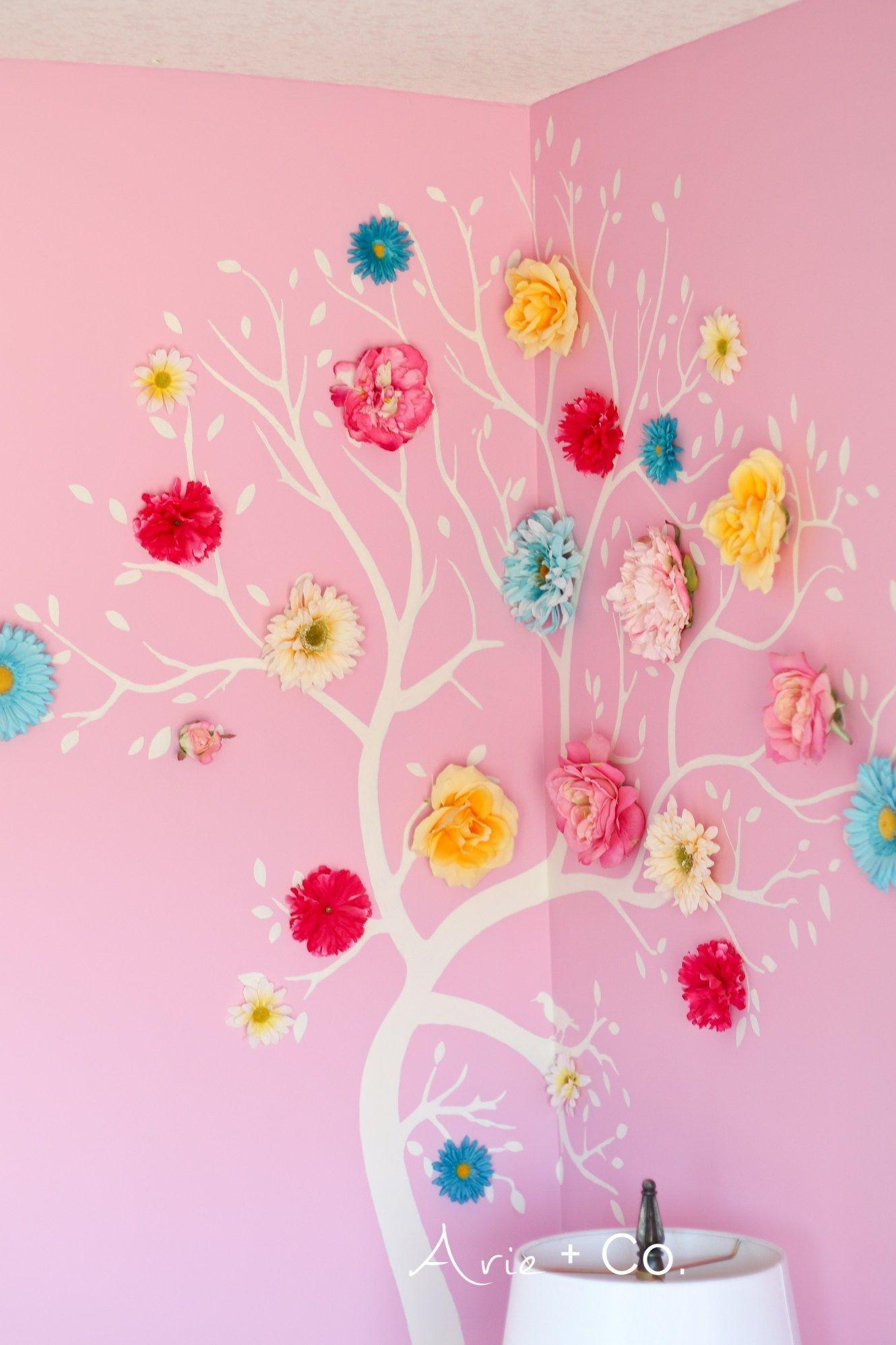 Flower Tree Wall Art Colorful Little Girl Room Girls Bedroom Ideas Benjamin Moore Pink Begonia Wall Girls Room Paint Girl Bedroom Walls Shared Girls Bedroom