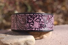 Wine tooled leather with black lining leather