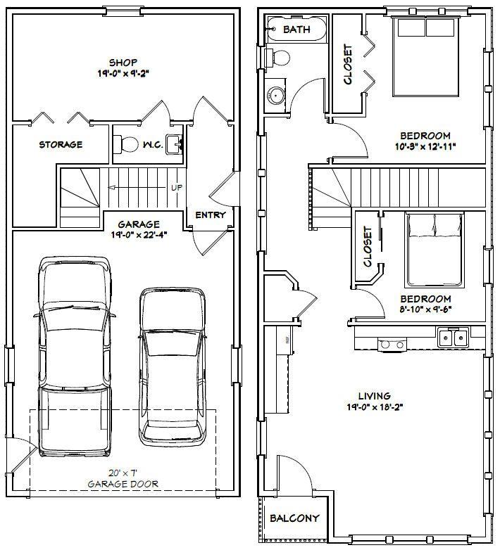 20x42 House 20x42h2a 1 153 Sq Ft Excellent Floor Plans Carriage House Plans Garage House Plans Garage Plans