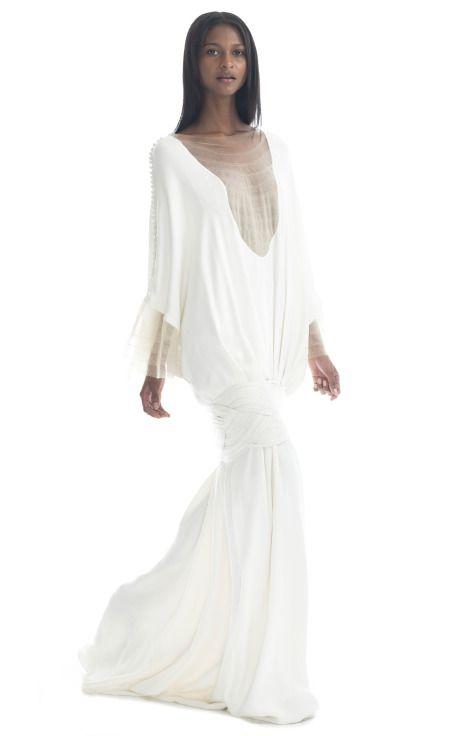 Shop Paula Raia Bright Nude Dolman Sleeve Illusion Gown at Moda Operandi