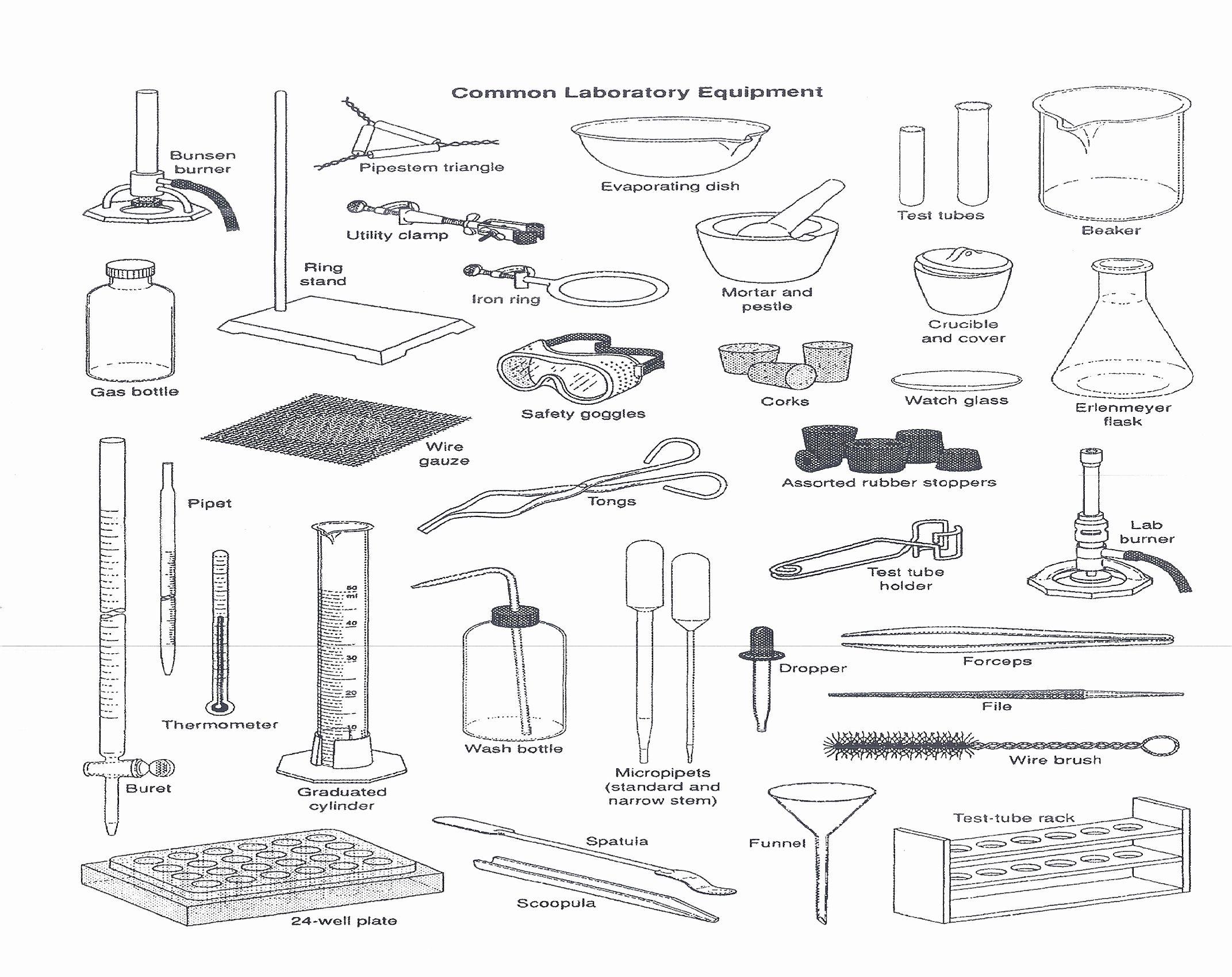 Chemistry Lab Equipment Worksheet Answer Key