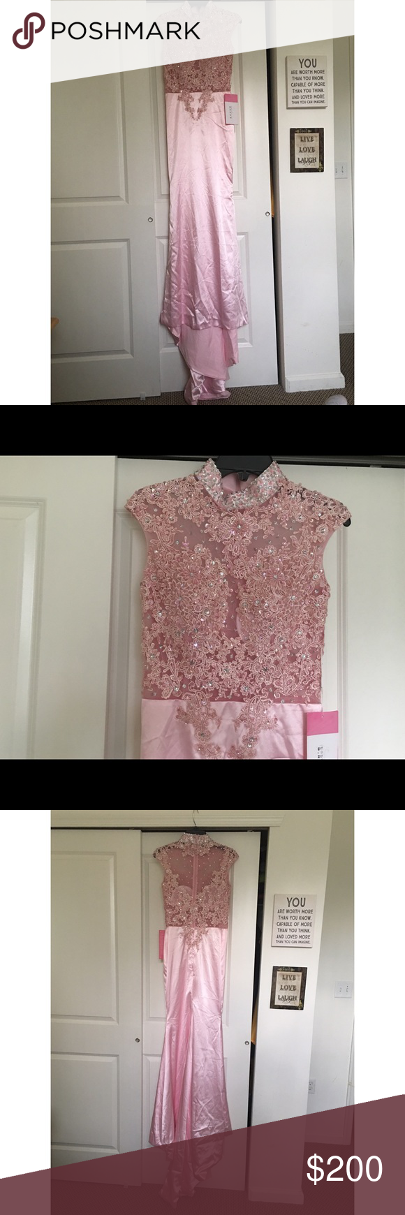Mermaid Form-Fitted Style Dress Pink/Silky Fabric Lace/Bedazzled Design Size 4 (for non-curvy body types)  Bedazzled Tunic Collar Small Train Trailing Behind Mermaid Style Dress Form-Fitted  Bought this for prom but it was too small for me (my hips are too big) so I'm selling it to make extra money for college! Dresses Prom