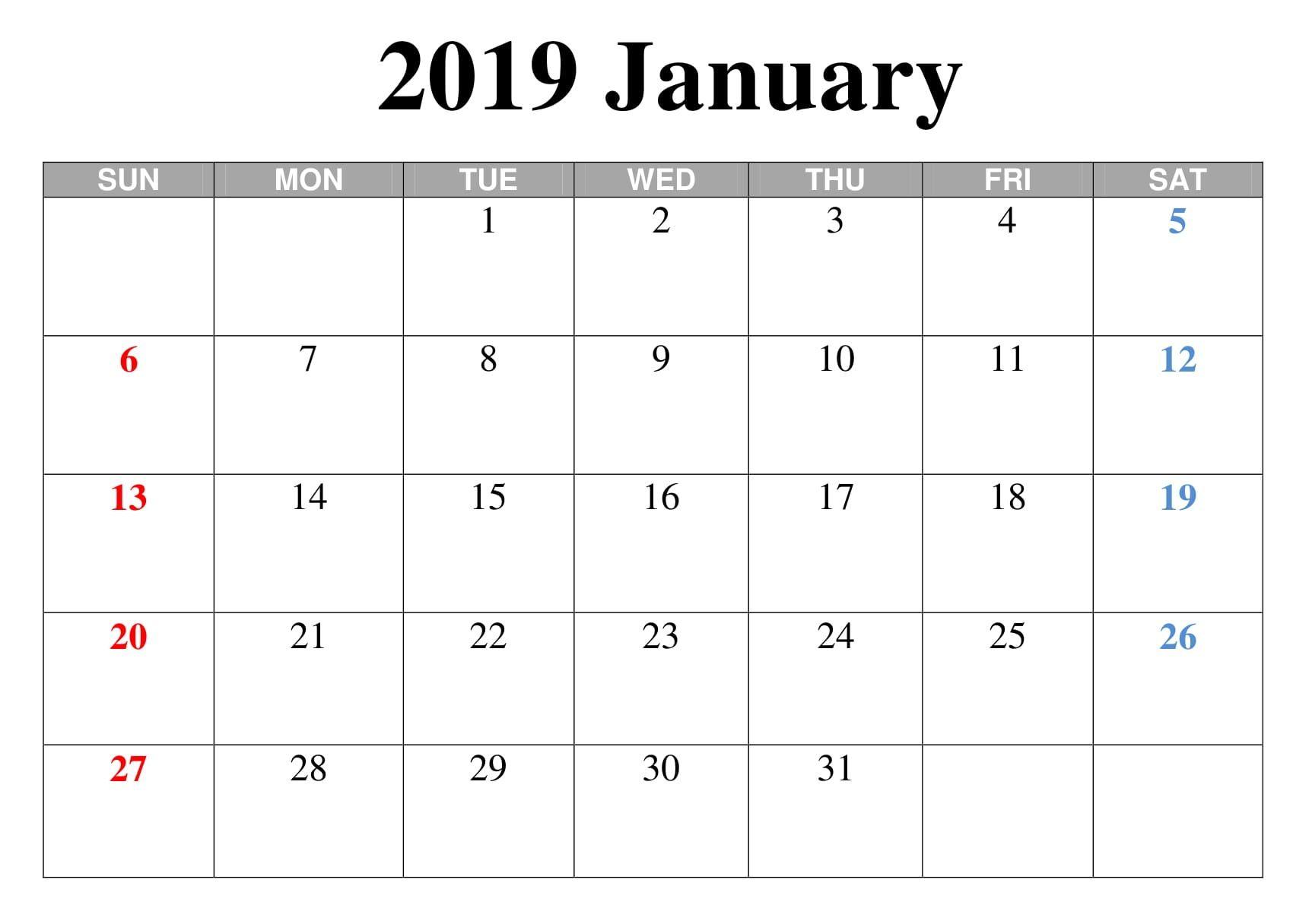 Blank January Calendar