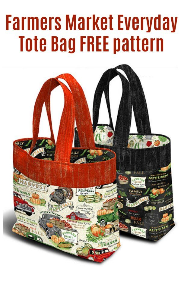 Farmers Market Everyday Tote Bag free pattern - Everyday tote bag, Market tote bag, Sewing bag, Modern bag, Handbag sewing patterns, Tote bag pattern - Here's the Farmers Market Everyday Tote Bag where the lovely designer has provided us all with a free pattern and tutorial  With our environment and oceans under threat from plastic, it makes such good sense to sew strong reusable grocery bags that you can use over and over again  You can make yourself one of …