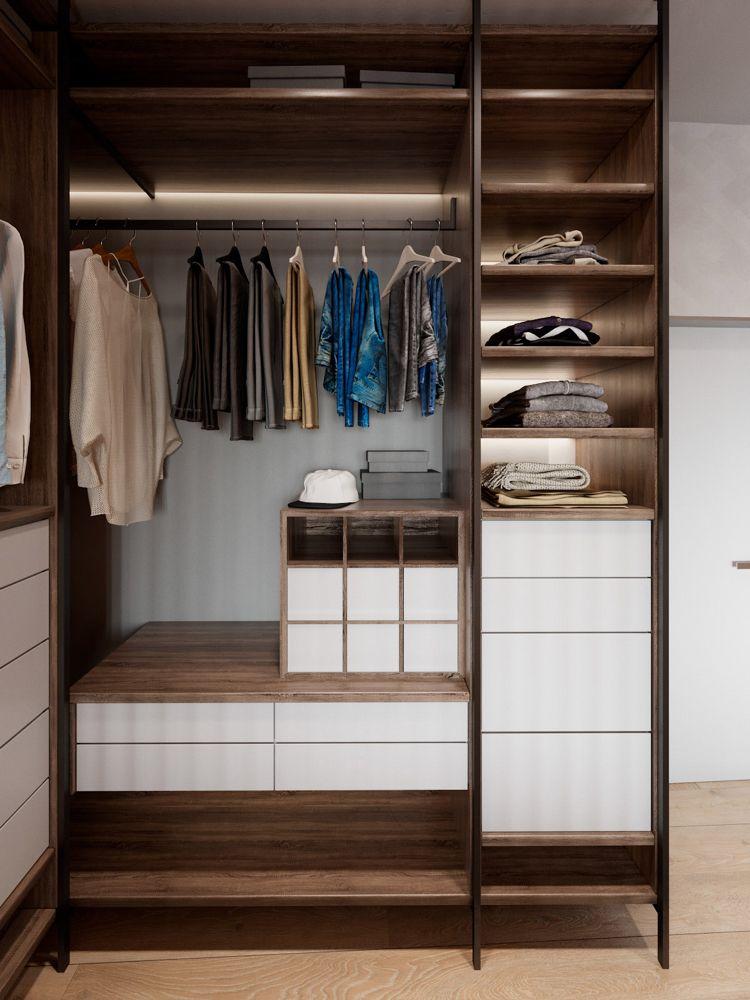 Kleiderschrank Ordnungssystem Led Licht Weisse Fronten Interior