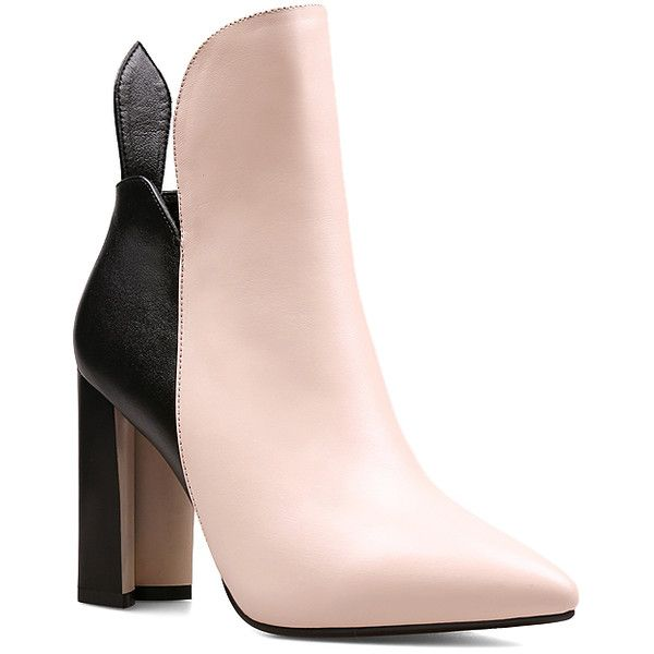 ea73c1295598 Jady Rose Pink   Black Color Block Leather Bootie ( 75) ❤ liked on Polyvore