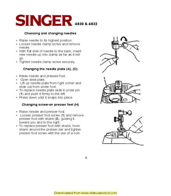 Singer 4040 Sewing Machine Instruction Manual Sewing Machine Enchanting How To Replace Needle On Sewing Machine