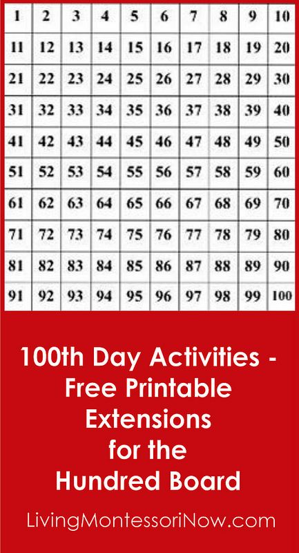 100th Day Activities - Free Printable Extensions for the 100 Board