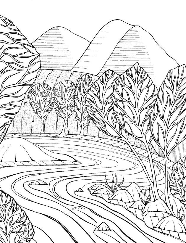 temperate stream black and white adult coloring page free downloadable printable mountain scene