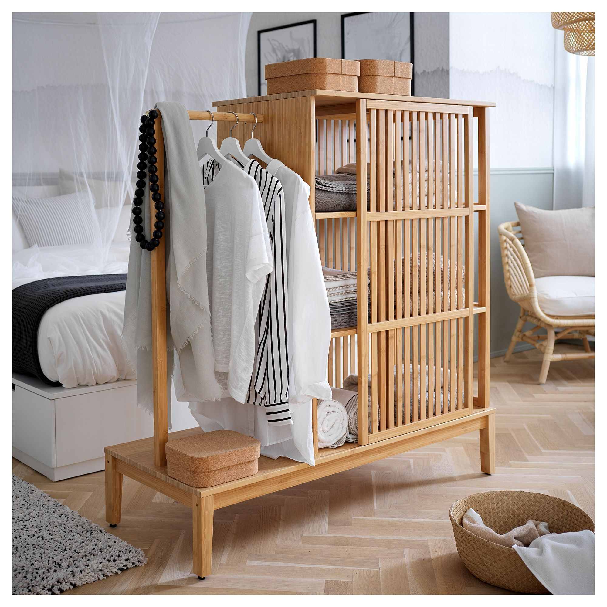 Nordkisa Bamboo Open Wardrobe With Sliding Door Width 120 Cm Height 123 Cm Ikea In 2020 Sliding Wardrobe Doors Open Wardrobe Ikea Bedroom Furniture