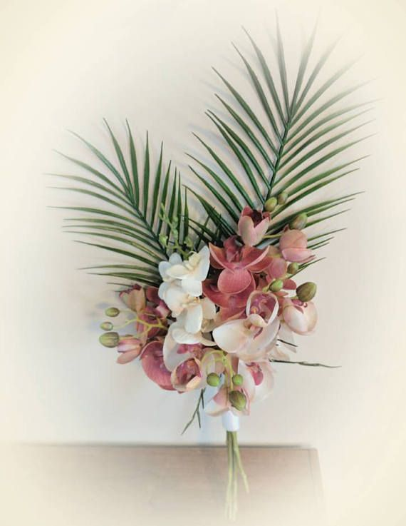 Tropical Wedding Bouquet Orchid Bouquets Palm Leaves Pink
