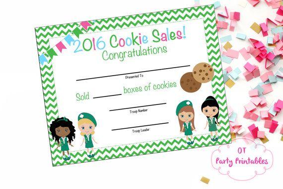 cookie sales certificate cookie sales award by otpartyprintables