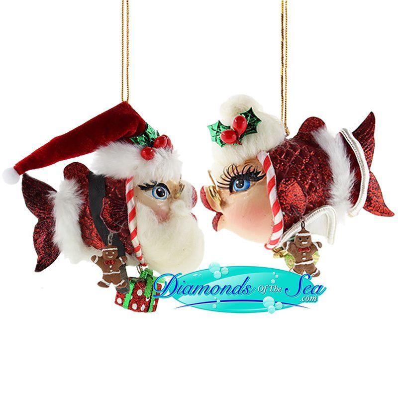 Mr & Mrs Claus in 2018 | Kissing Fish Ornaments | Fish ornaments ...