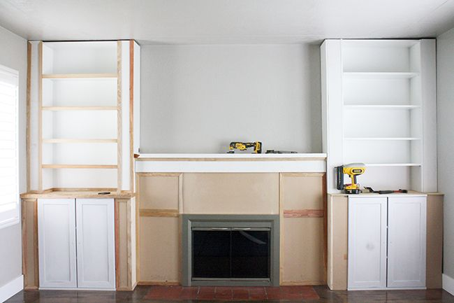 ikea hack, built-ins, fireplace, bookcase, billy bookcase ...