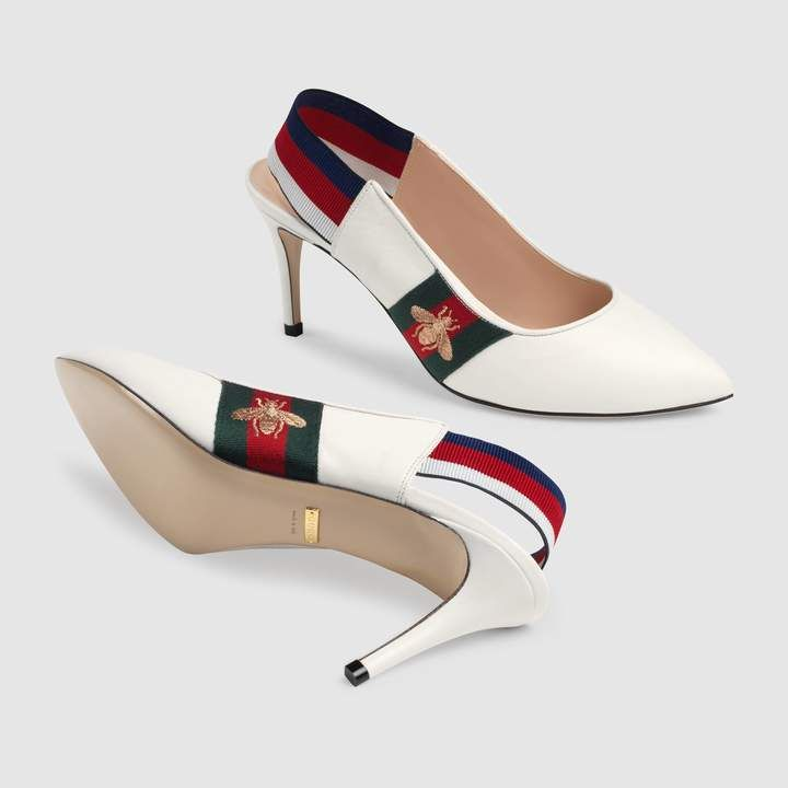 321afb3e68 Gucci Leather Web mid-heel slingback pump in 2019 | 2TR | Pumps ...