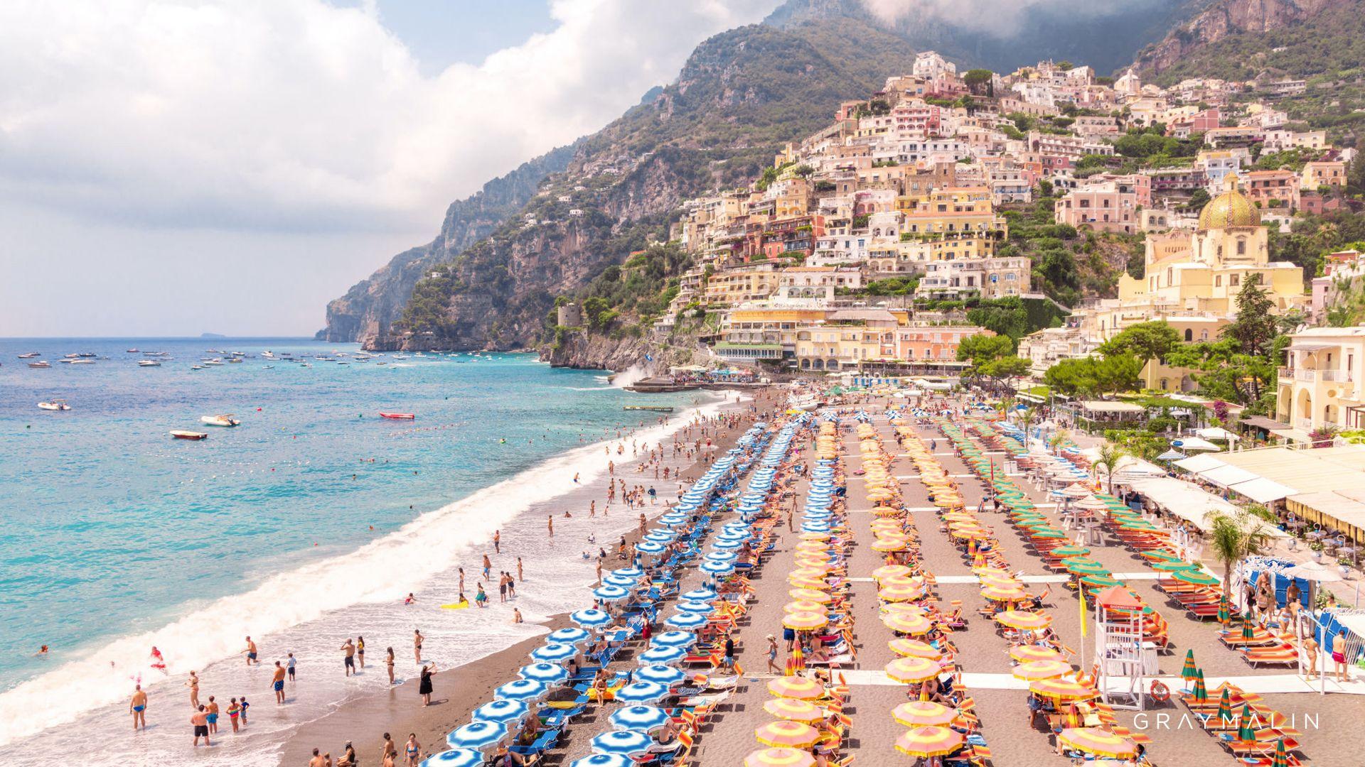 Zoom Backgrounds In 2020 Positano Beach Beach Umbrella Gray Malin