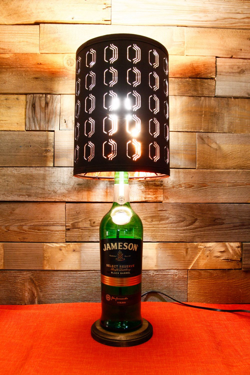 Table lamp jameson black barrel bottle with stained wood for Wine cork lampshade