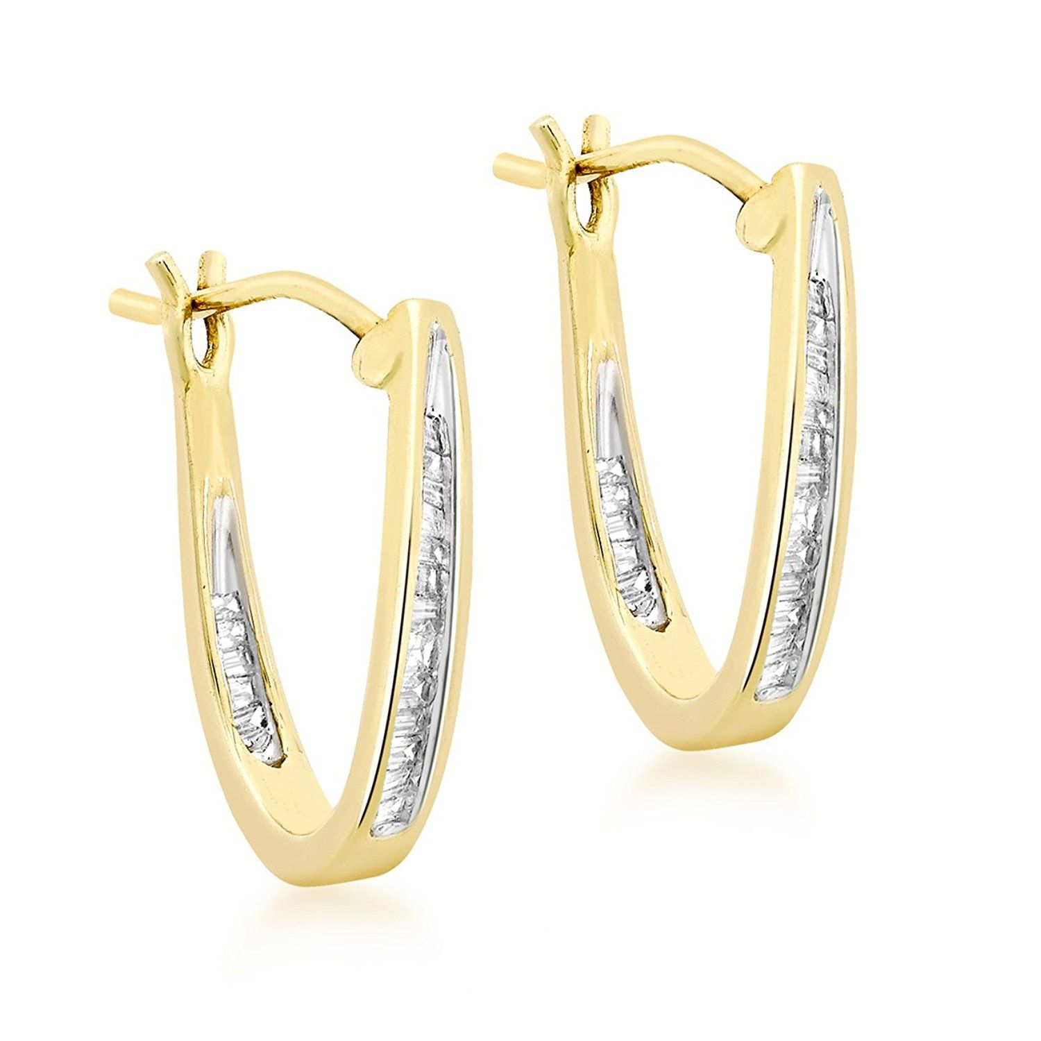 Carissima Gold 9ct Yellow Gold 0 25ct Diamond Baguette Set