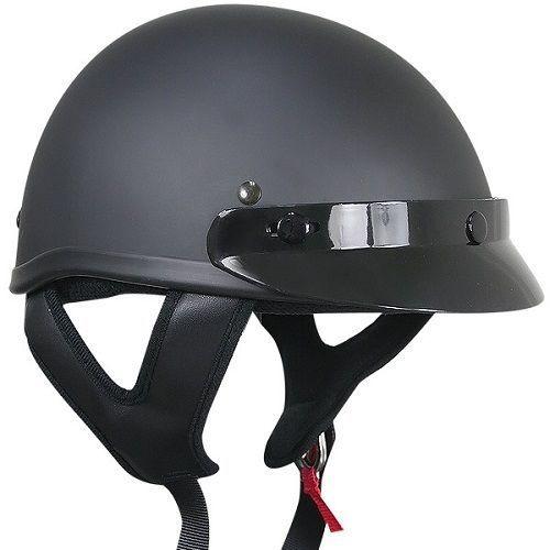 Outlaw T69 Dot Flat Black Motorcycle Skull Cap Half Helmet
