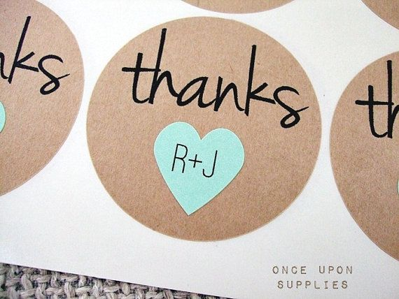 Pack of 150 2 thanks round stickers with mini hearts personalized wedding initial stickers