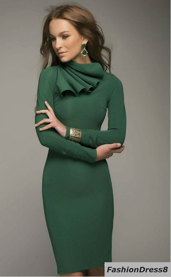 Dark Green Pencil Dress Knee Length, Long Sleeve Fitted Dress ...