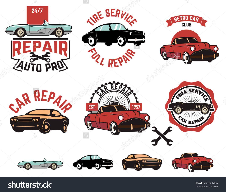 Design car emblem - Set Of Car Repair Service Labels Retro Vector Design Graphic Element Emblem Logo