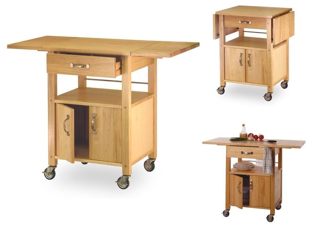 Rolling Kitchen Cart Utensil Drawer Shelf Storage Cabinet Drop Impressive Kitchen Cart With Drop Leaf Design Ideas