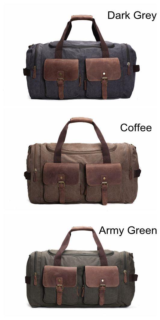 ba1f238ee4 Image of Handmade Waxed Canvas Duffle Bag Travel Bag Holdall Luggage Bag  Overnight Bag AF14