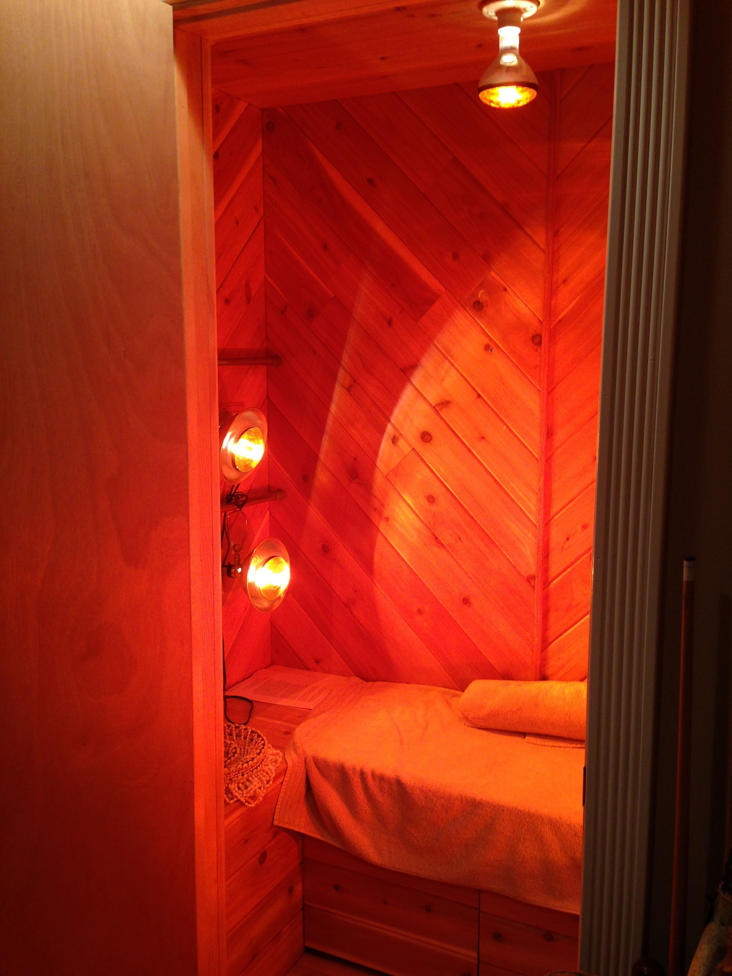 Basement Closet Turned To Near Infrared Sauna Room; Meditation, Healing.