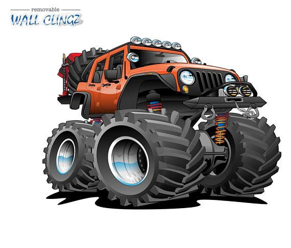 4x4 Off Road Lifted Orange And Black Aggressive Stance Jeep Art
