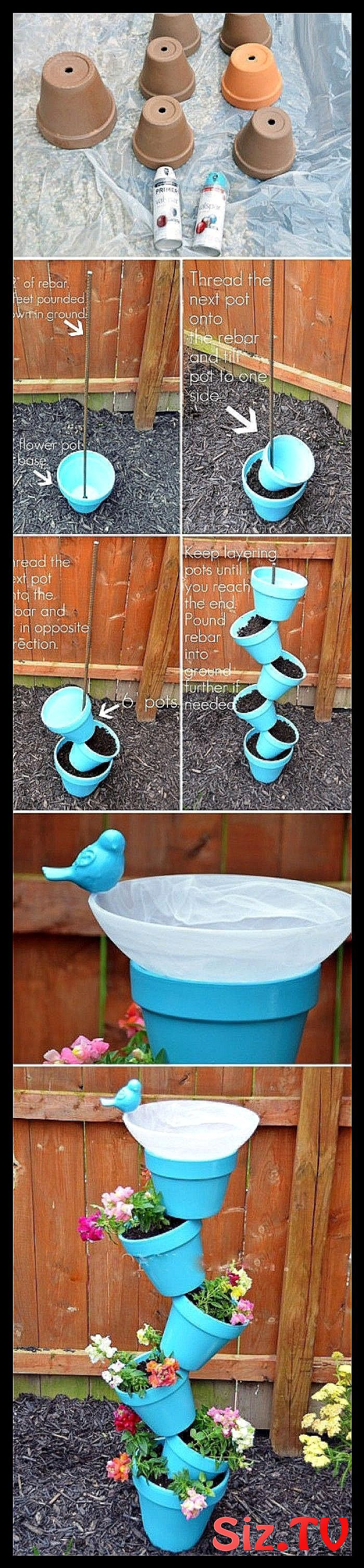 Photo of Make great and cheap garden decoration from clay pots themselves  clay pot tower…