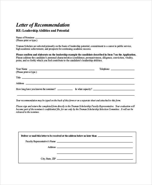 Sample Letter of Recommendation for Scholarship - 29+ Examples in - Recommendation Letters For Scholarship