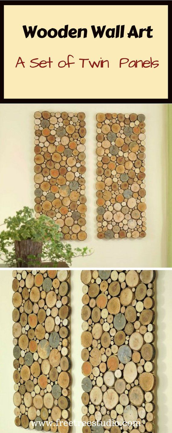 Wood wall art a set of twin panles tree rounds decor tree