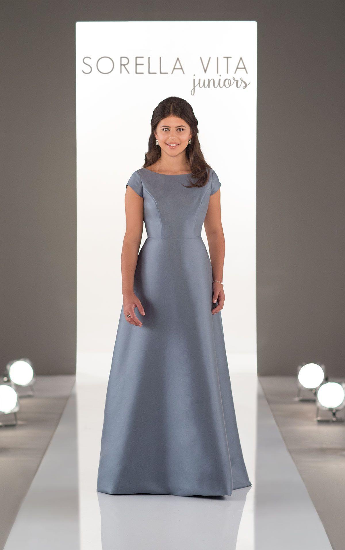 High neckline juniors bridesmaid dress