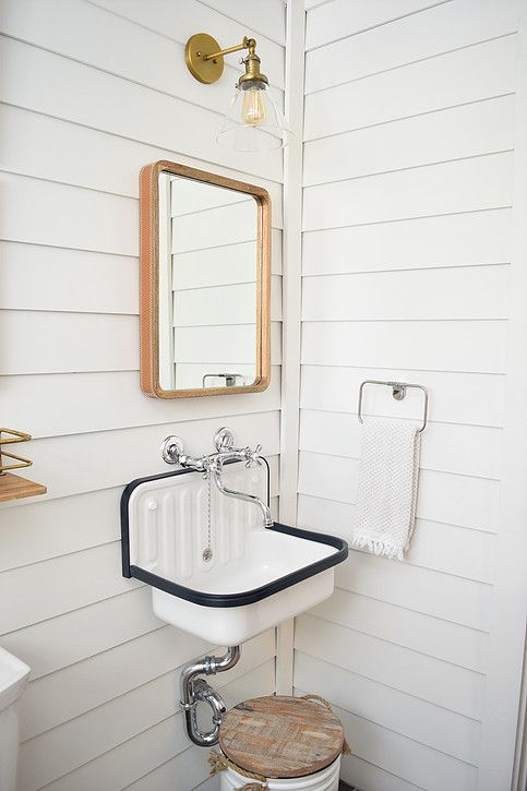 Vintage Inspired Industrial Wall Mount Utility Sink, Chrome Wall Mount  Faucet, White Shiplap Walls, Wood And Leather Mirror, Brass Industrial  Sconce.