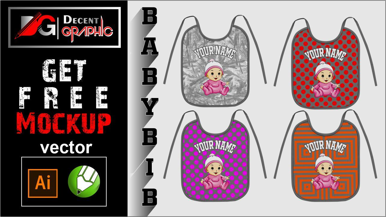 Get Free Baby Bib Mockup Design Mockup Design Coreldraw Vector Free