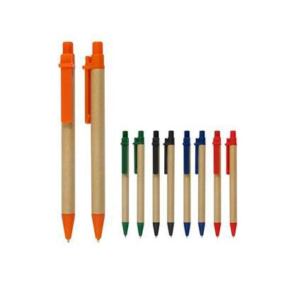 """Bolígrafo ecológico modelo """"Compo"""" de cartón reciclado con terminales de plástico de color PET biodegradable. Escritura negra."""
