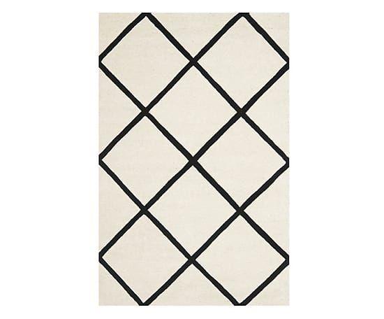 Alfombra de algodón artesanal Eliza, marfil y negro - 121x182 cm