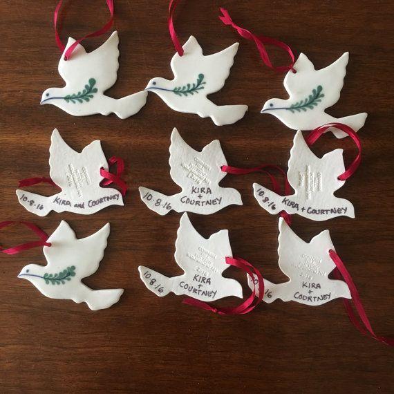 Dated Peace Dove Ornament Porcelain Hospice Dove Wedding Favor Made