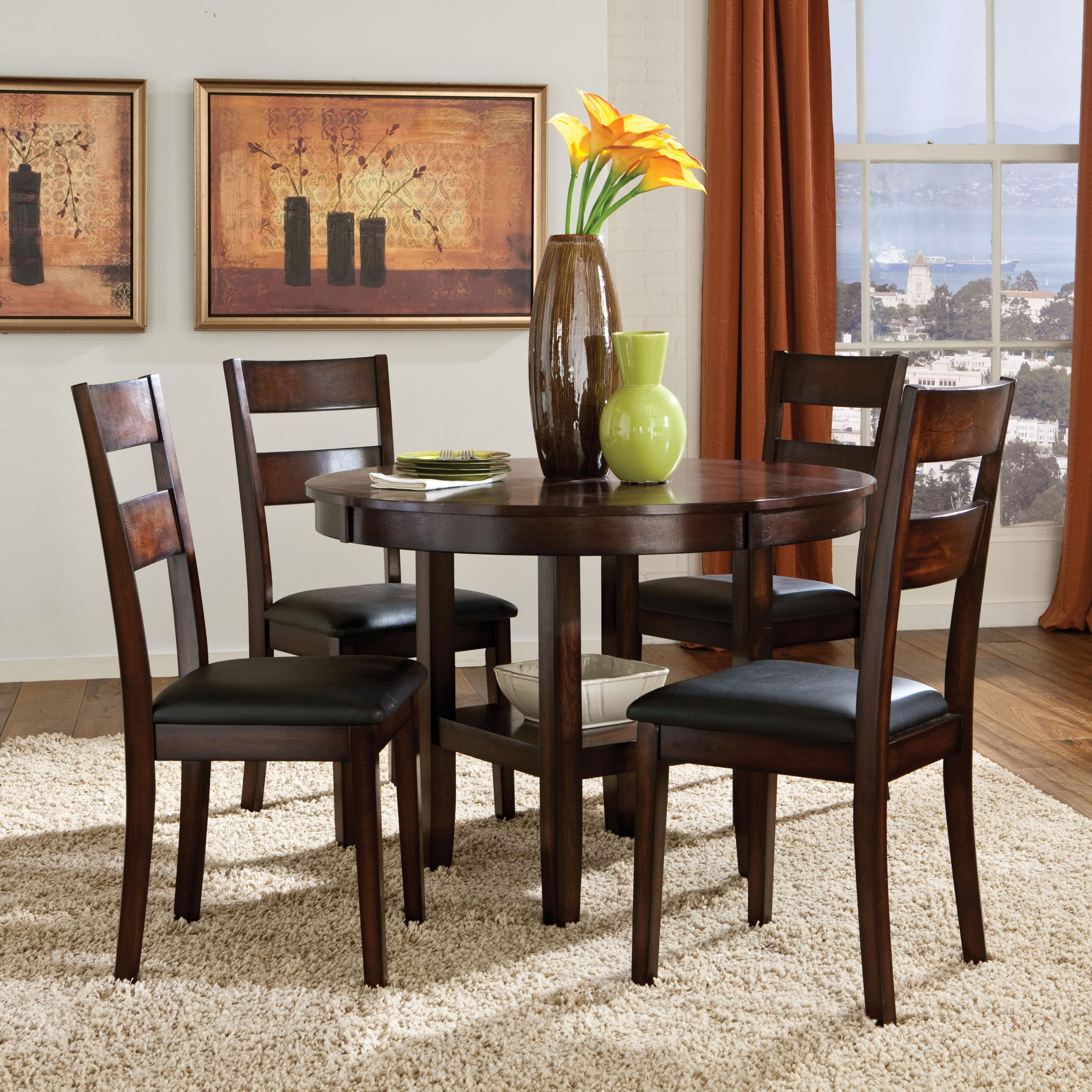 5 Piece Round Table & Dining Side Chairs Set Wolf Furniture