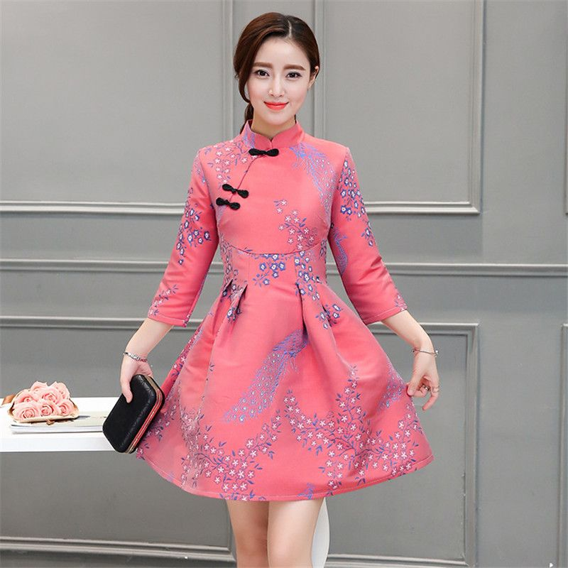 2017 Elegant Cheongsam Retro Short Linen Modified Spring Autumn ...