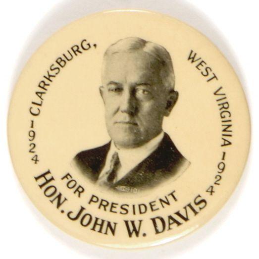 John W. Davis button, 1924