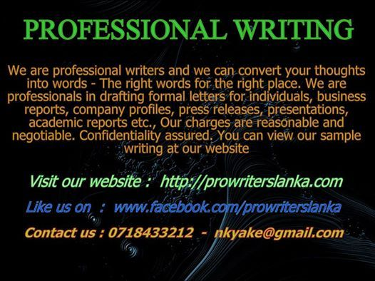 prowriterslanka nkyake@gmail 0718433212 CREATIVE WRITING - business report sample
