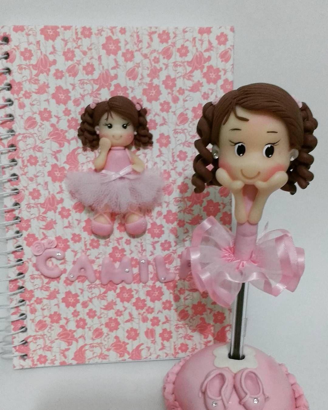 Amado Caderno com aplique em biscuit e caneta personalizada  JY13