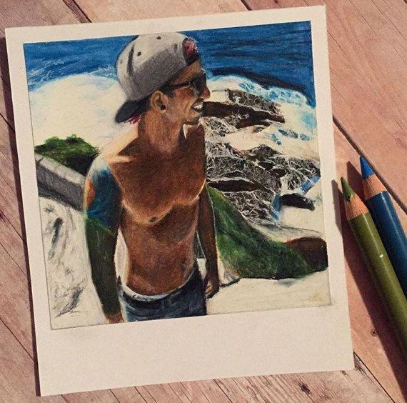 Near an Ocean  Print of Polaroid Drawing by thisismyshopbye