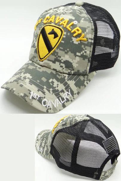 U S Army 1st Cavalry Division Cap Cotton Trucker Air Mesh Acu Digital Camo Black Digital Camo Cavalry Army