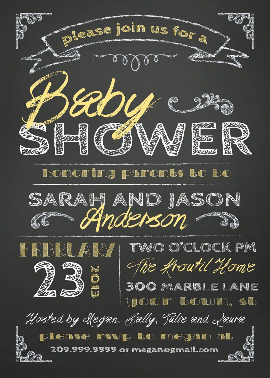 COUPLES BABY SHOWER invitation - chalkboard. $18.00, via Etsy ...