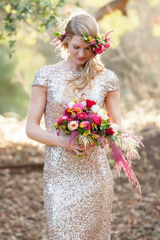 Sparkly Bridal Shoot with Boho Flower Crown